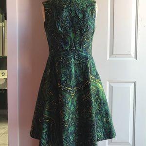 Green kaleidoscope print dress